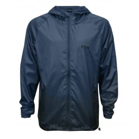 Beach Windbreaker Full-Zip Jacket, Blue with white contrast