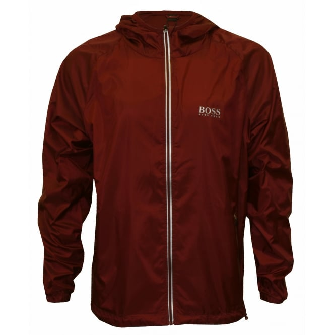 Hugo Boss Beach Windbreaker Full-Zip Jacket, Burgundy with white contrast