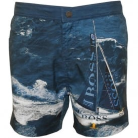 Blackfish Boat Print Formal Swim Shorts, Blue