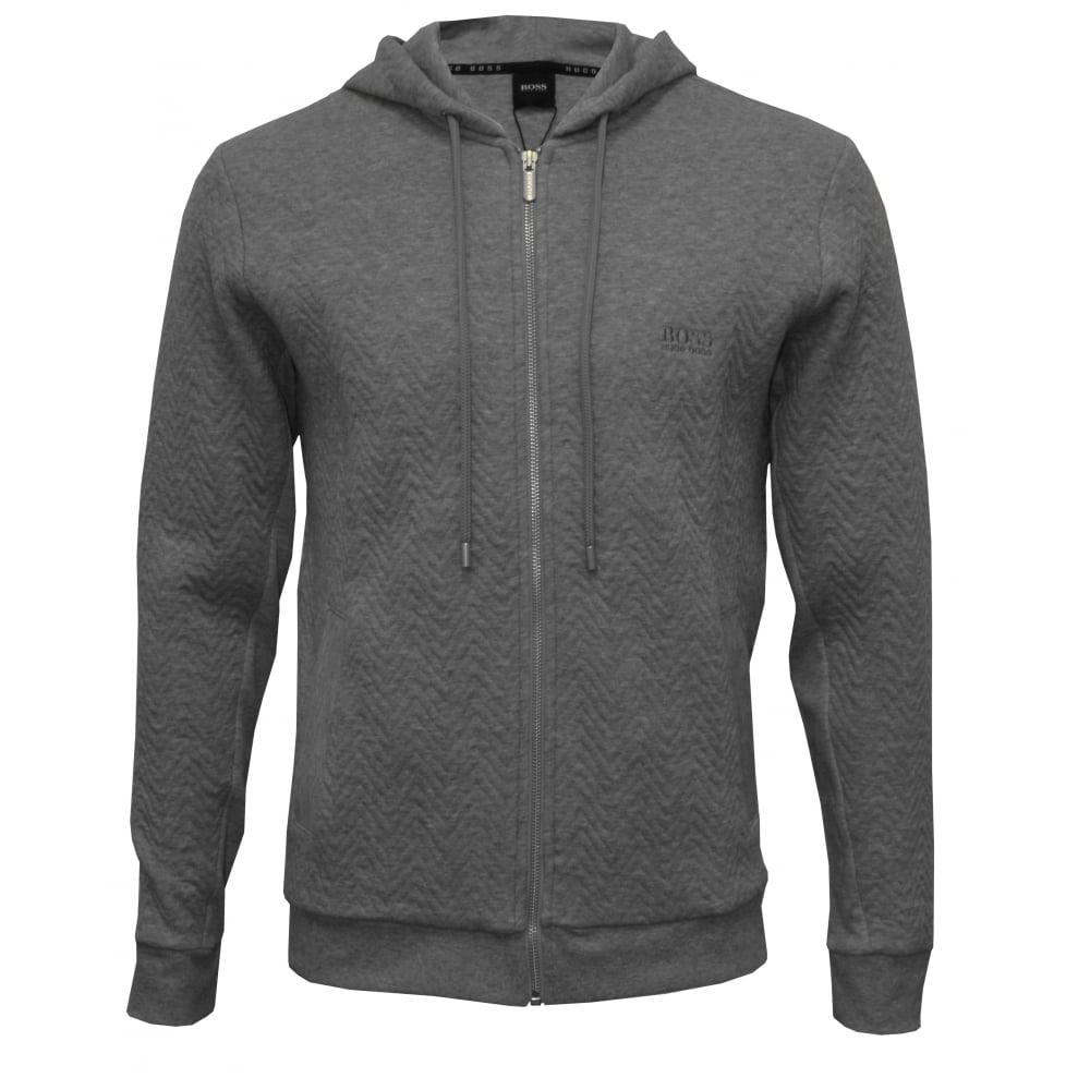 Contemporary Quilted Zip-Thru Hooded Jacket, Heather Grey