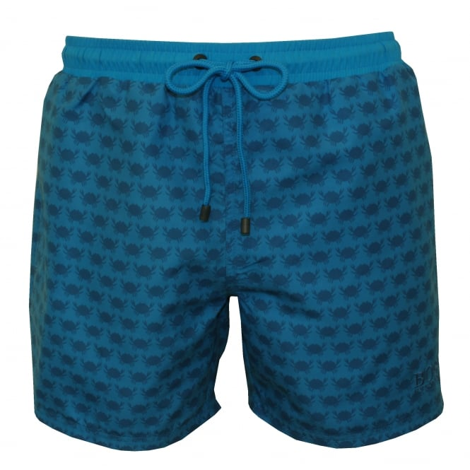 Hugo Boss Crabs Print Swim Shorts, Blue/navy