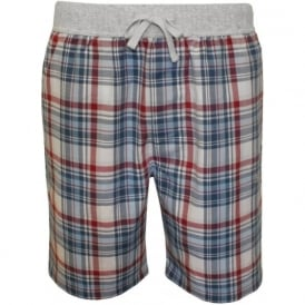Dynamic Checked Brushed Cotton Lounge Shorts, Blue