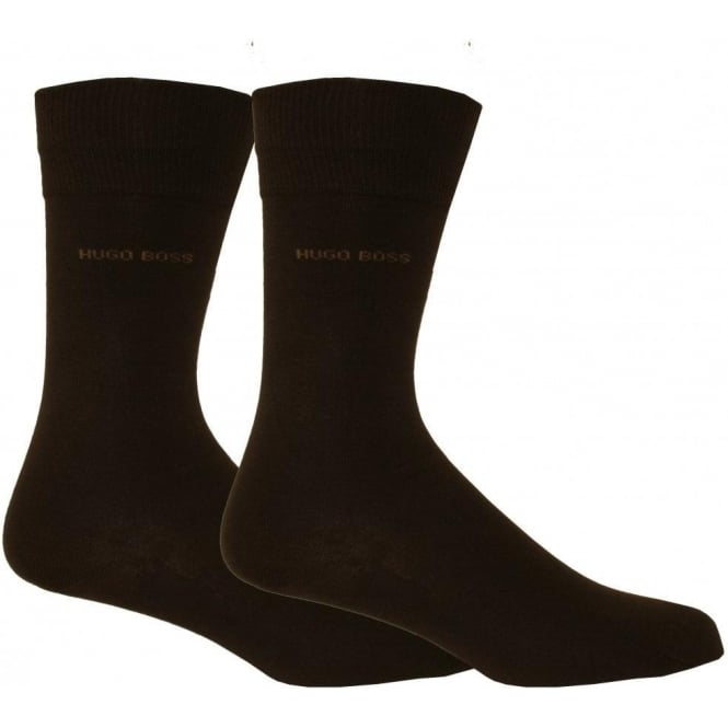 Hugo Boss Essential Range Mens Socks with Cotton Blend 2-pack in Dark Brown