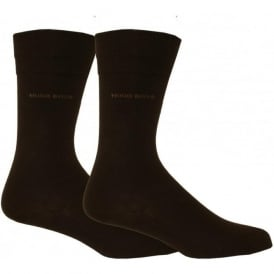 Essential Range Mens Socks with Cotton Blend 2-pack in Dark Brown