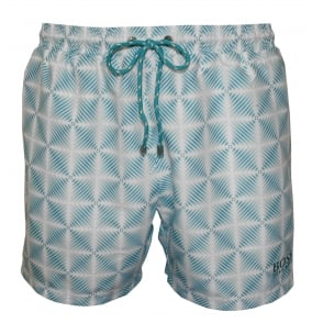 Fade-Check Print Piranha Swim Shorts, Turquoise/White