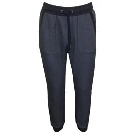 Heritage Jogging Bottoms, Marl Blue with navy contrast