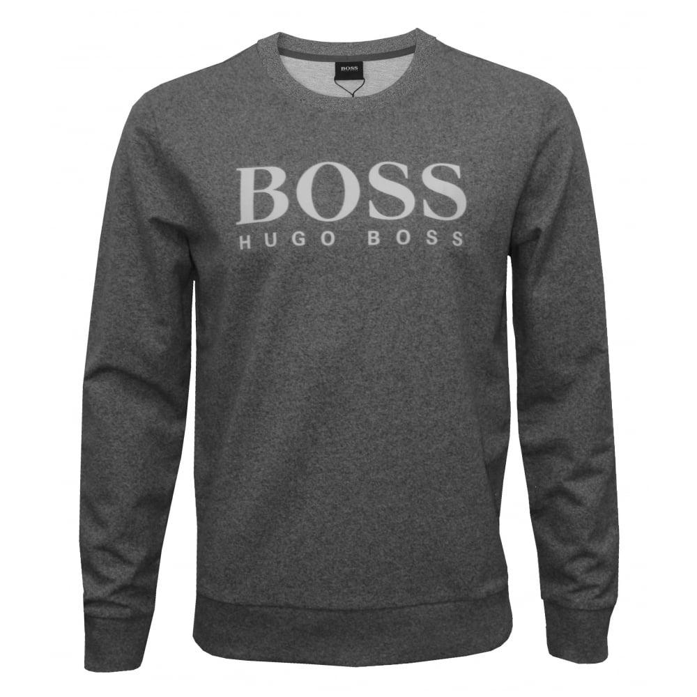 hugo boss heritage logo sweatshirt marl grey underu. Black Bedroom Furniture Sets. Home Design Ideas