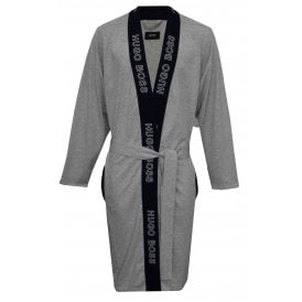 Identity Kimono Jersey Cotton Bathrobe, Grey/blue