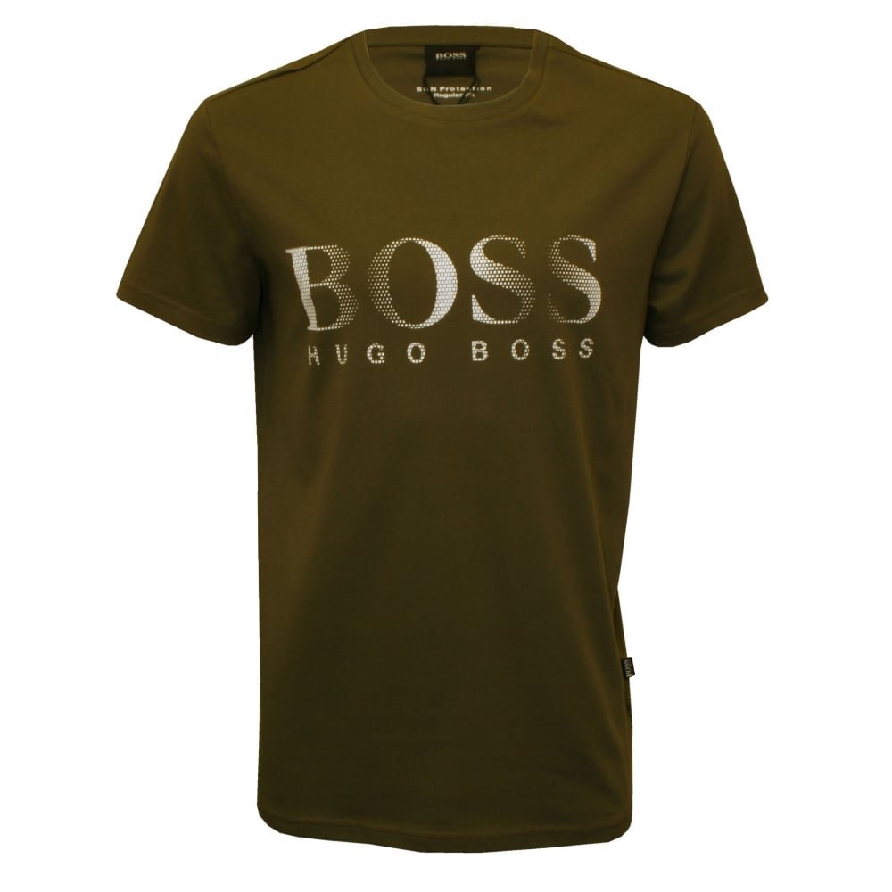 Hugo boss logo crew neck t shirt khaki underu for Boss t shirt sale