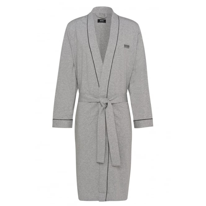 Hugo Boss Kimono Jersey Cotton Dressing Gown, Grey Melange