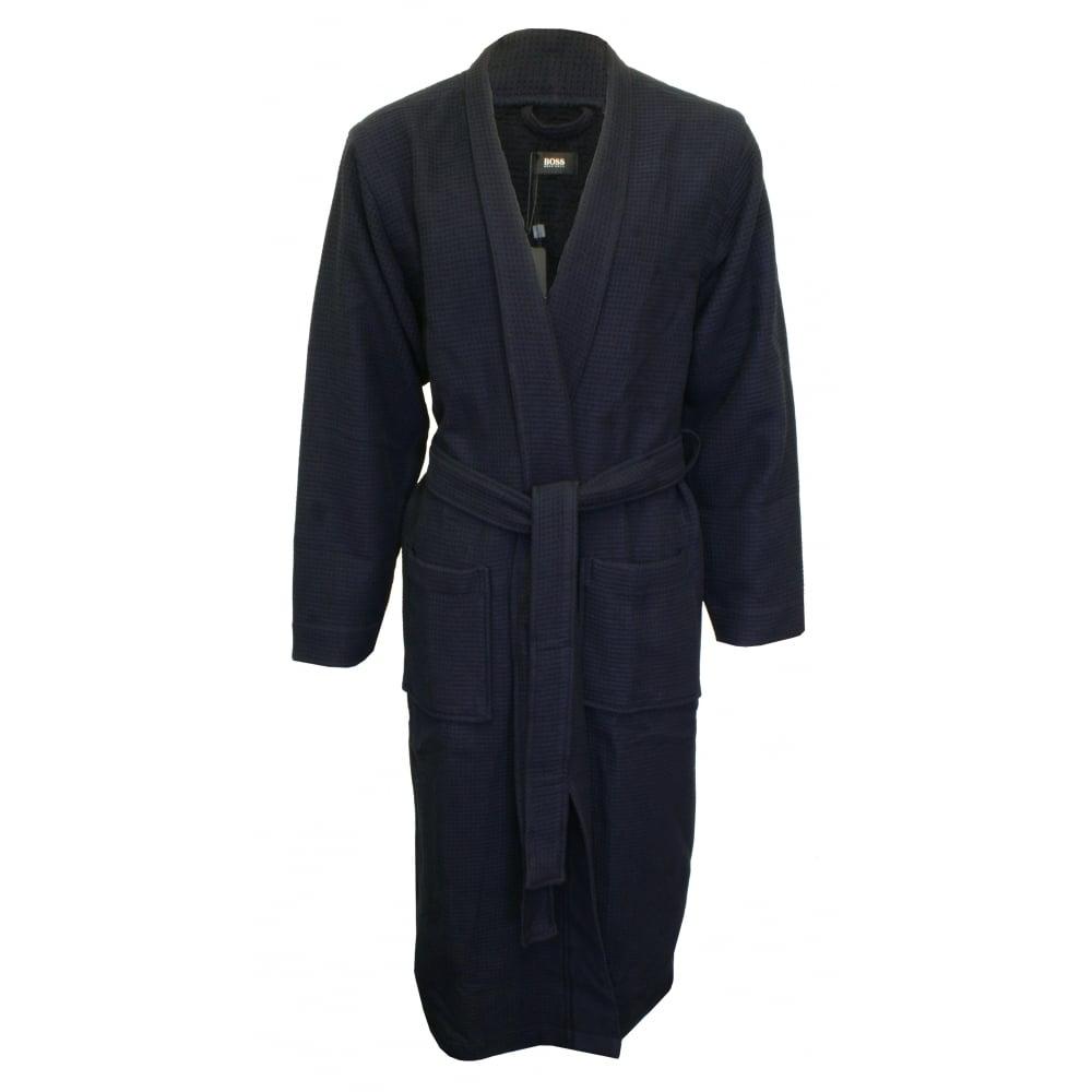 Hugo Boss Kimono Waffle Pique Dressing Gown, Navy   UnderU