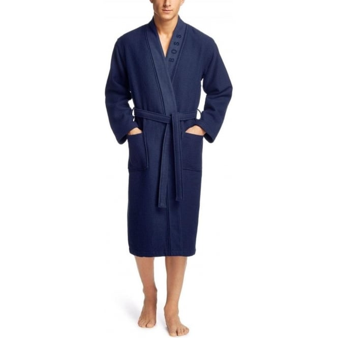 best selection of choose authentic boy Kimono Waffle Piquet & Towelling Lining Bathrobe, Navy