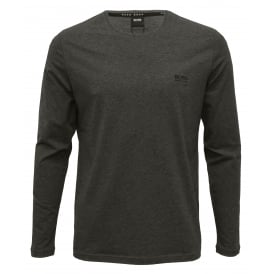 Luxe Jersey Long-Sleeve Crew-Neck T-Shirt, Charcoal