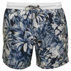 Mandarinfish Floral Print Swim Shorts, Blue/Navy
