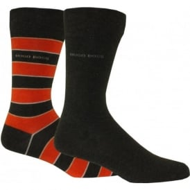 Mens Socks 2-Pack in Striped Combed Cotton in Grey/Orange