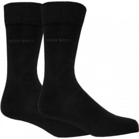 Mens Socks Essential Range with Cotton Blend in Black, 2-Pack