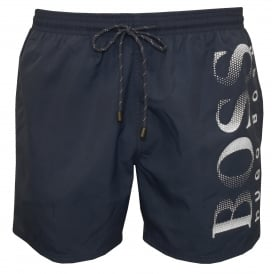 Octopus Swim Shorts, Blue with white contrast