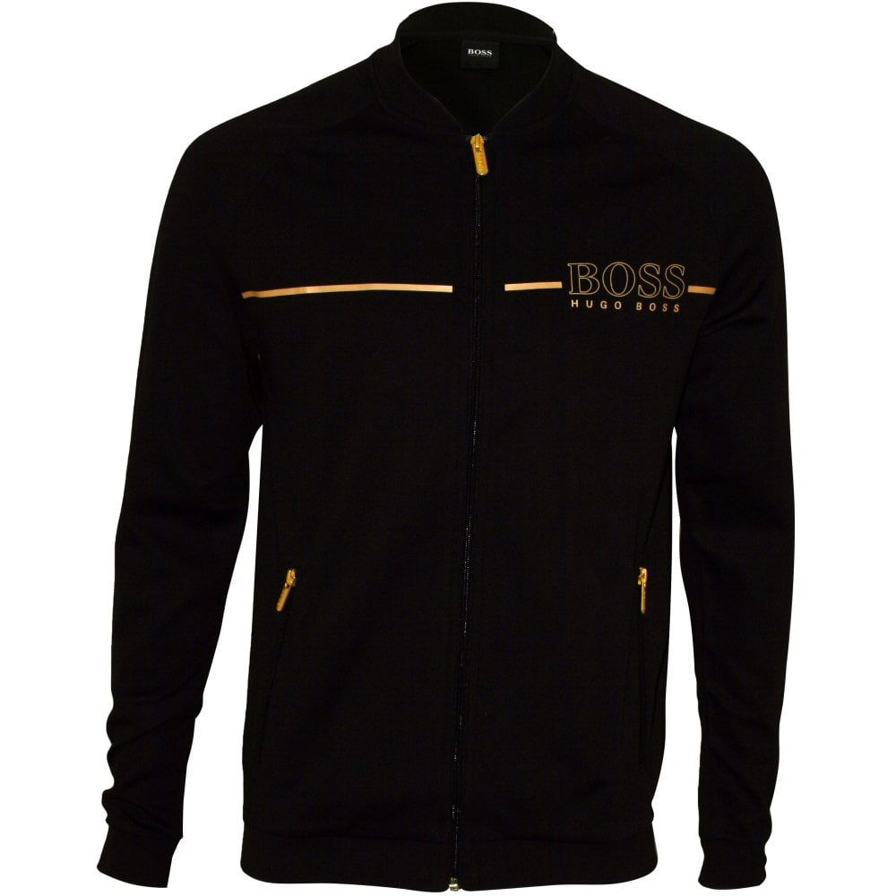 55695c78 Hugo Boss Pique Cotton Zip Tracksuit Jacket, Black/gold | UnderU