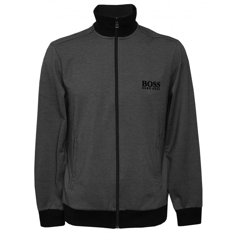 6dfad07b Hugo Boss Pique Cotton Zip Tracksuit Jacket, Grey/Black | UnderU