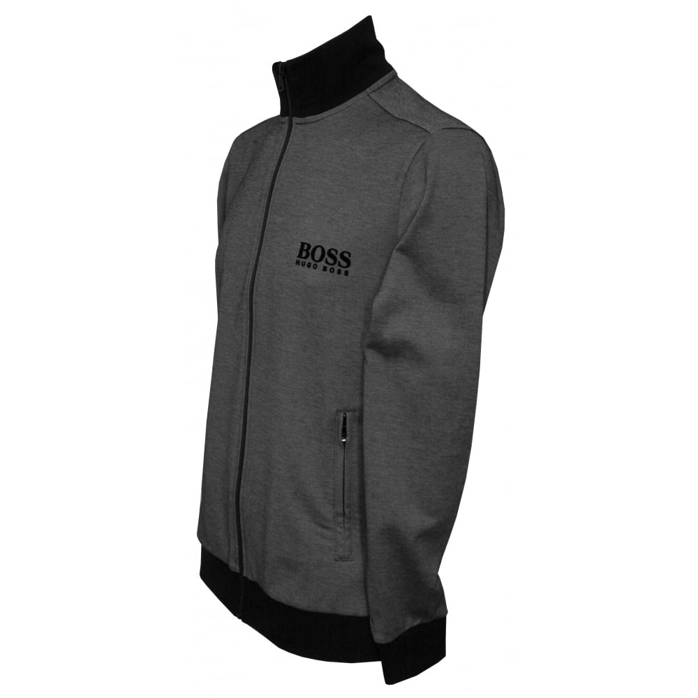 6ebe8dc1d Hugo Boss Pique Cotton Zip Tracksuit Jacket, Grey/Black | UnderU