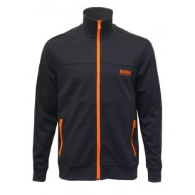 Pique Cotton Zip Tracksuit Jacket, Navy with orange