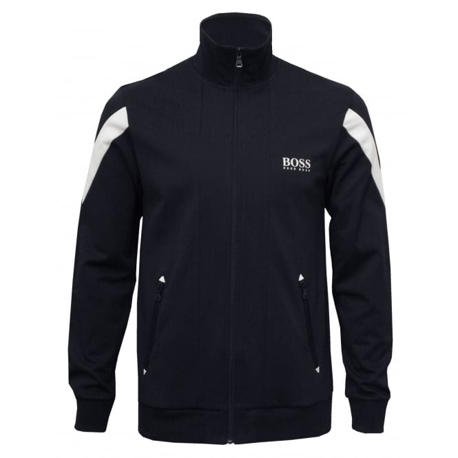 Hugo Boss Pique Cotton Zip Tracksuit Jacket, Navy with white