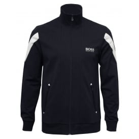 Pique Cotton Zip Tracksuit Jacket, Navy with white