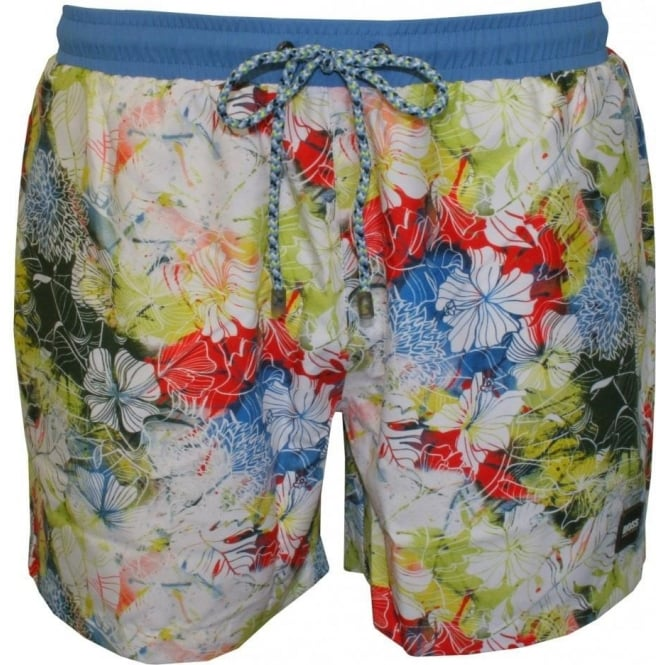 70212908bb Hugo Boss Piranha Floral Print Swim Shorts, Multi | UnderU
