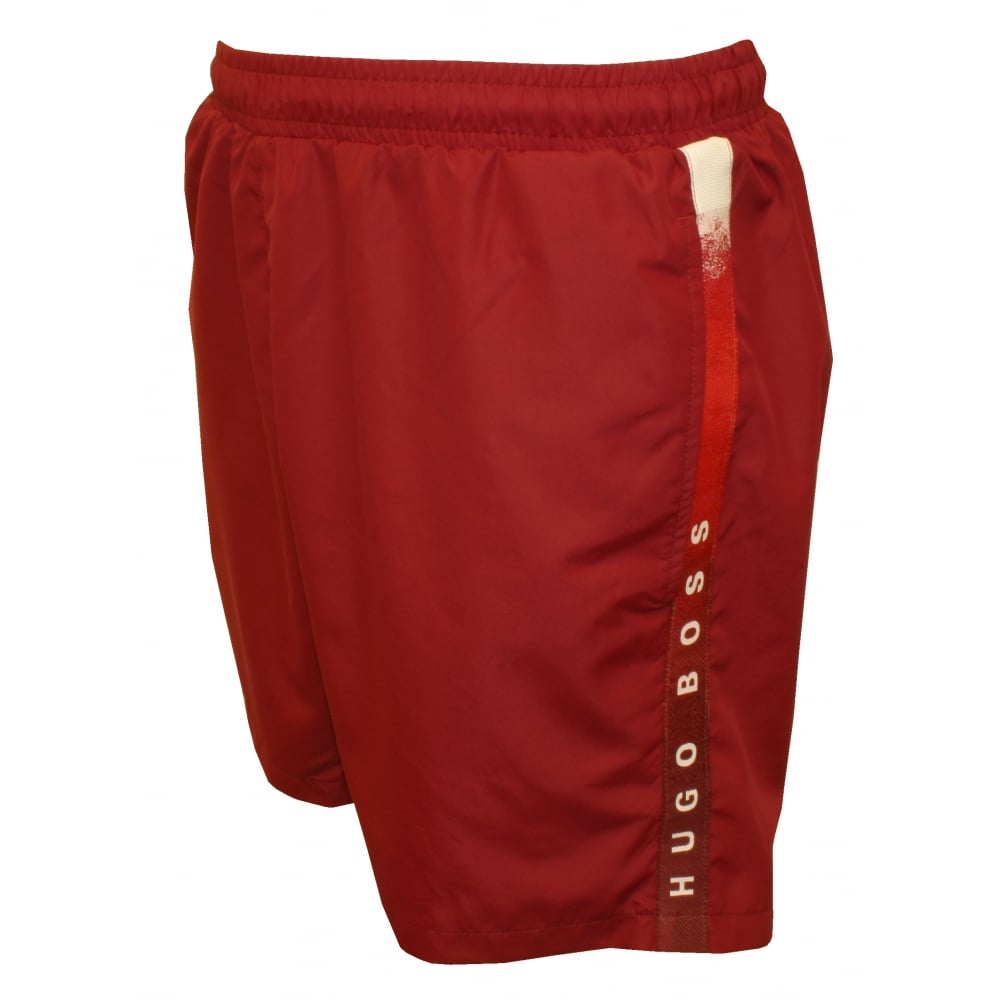06912af270 Hugo Boss Side Logo Trim Seabream Swim Shorts, Deep Red | UnderU