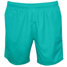 Side Logo Trim Seabream Swim Shorts, Turquoise with white
