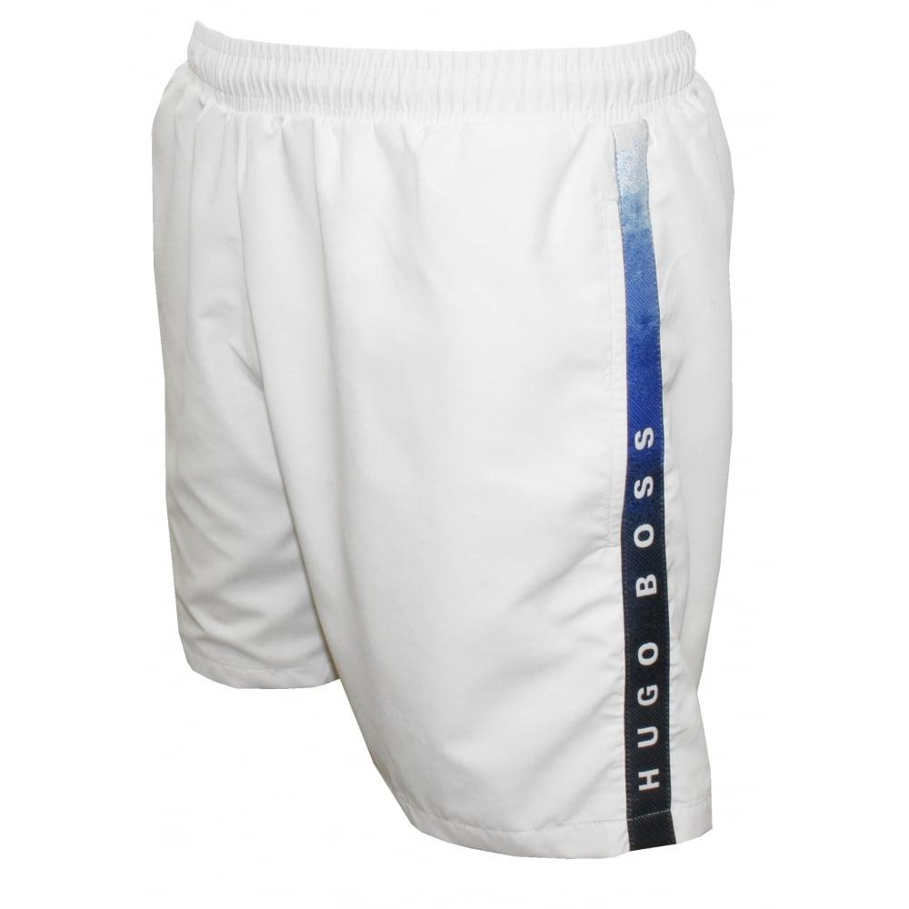 9508d6e33fd93 Hugo Boss Side Logo Trim Seabream Swim Shorts, White | UnderU