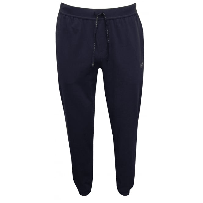 Hugo Boss Single Jersey Cuffed Jogging Bottoms, Navy with grey