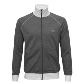 Single Jersey Zip-Thru Tracksuit Jacket, Grey with white
