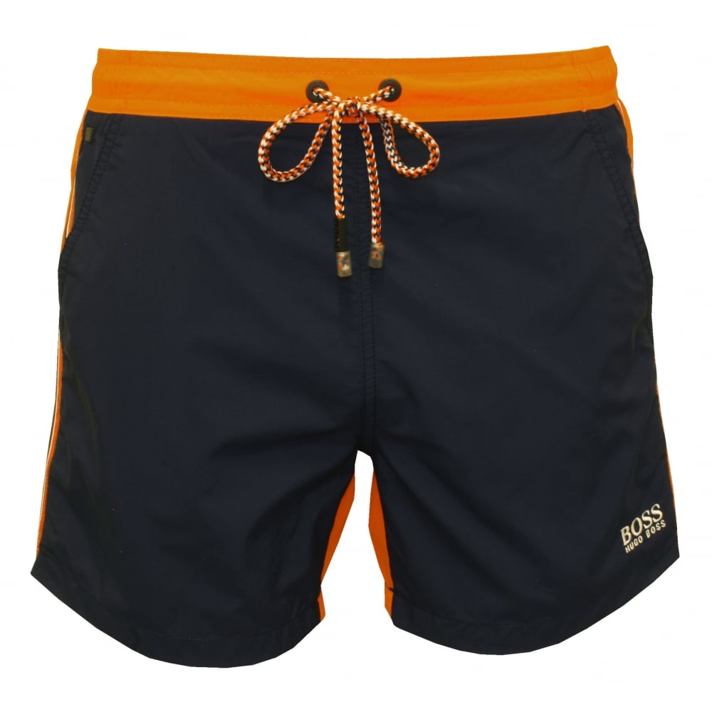 713f8cee Hugo Boss Snapper Swim Shorts, Navy/Orange | Hugo Boss swim | UnderU