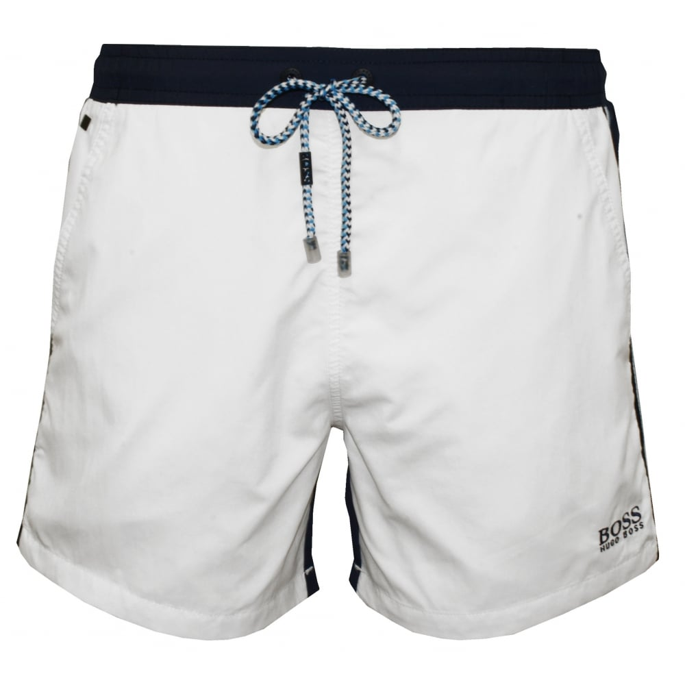 6d38f76a Hugo Boss Snapper Swim Shorts, White | Hugo Boss swimwear | UnderU