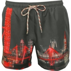 Springfish London Print & Embroidered Swim Shorts, Grey/Red