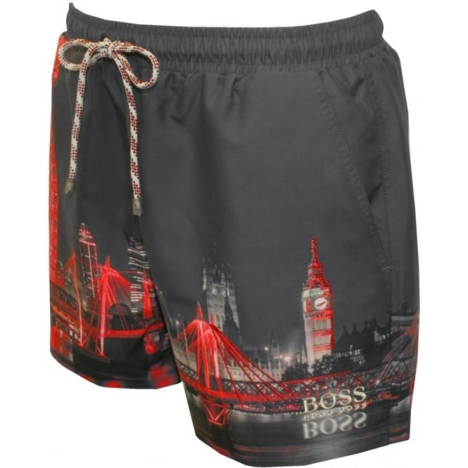 5d1600013b Hugo Boss Springfish London Print & Embroidered Swim Shorts, Grey ...