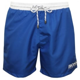 Starfish Swim Shorts, Blue with white contrast