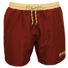 Starfish Swim Shorts, Burgundy with Cream contrast