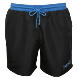 Starfish Swim Shorts, Dark Grey with Blue Contrast