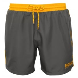 Starfish Swim Shorts, Dark Grey with Golden Sun Contrast