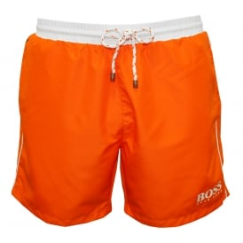 Starfish Swim Shorts, Orange with white contrast