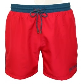 Starfish Swim Shorts, Pink with Aqua Blue Contrast