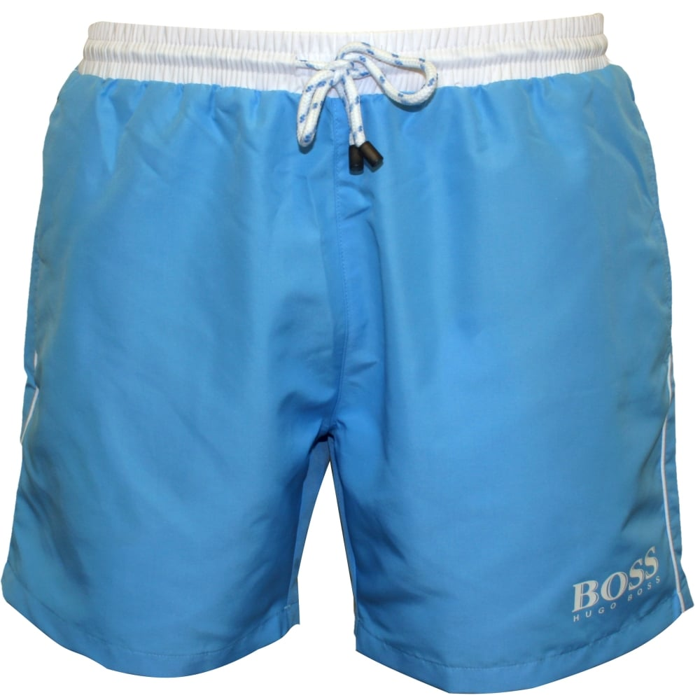 b4b12eb22e Hugo Boss Starfish Swim Shorts, Sky Blue with white contrast | UnderU