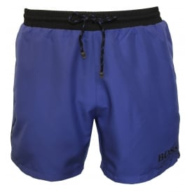 Starfish Swim Shorts, Vibrant Blue with Black Contrast