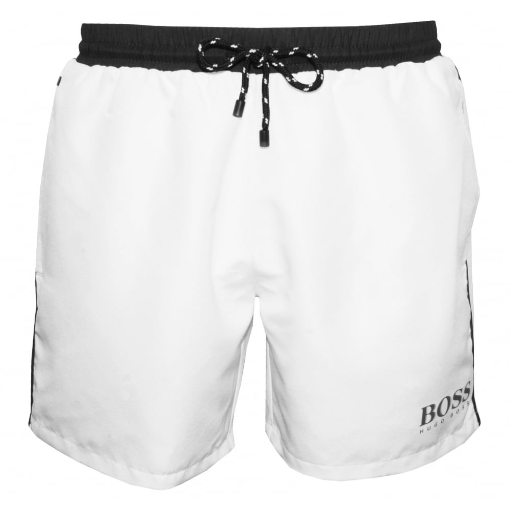 3bd2816c46 Hugo Boss Starfish Swim Shorts, White with grey contrast | UnderU