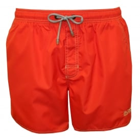 Swim Shorts in Lobster Style, Red with contrast white