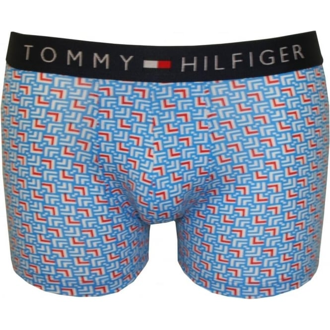Tommy Hilfiger Icon Geo Print Boxer Trunk, Brilliant Blue