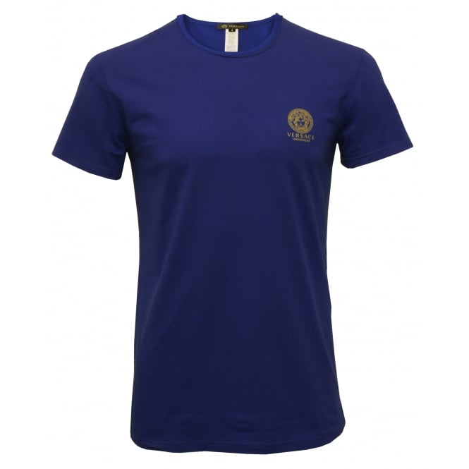 Versace Iconic Crew-Neck Stretch Cotton T-Shirt, Blue
