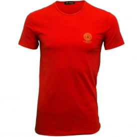 Iconic Crew-Neck Stretch Cotton T-Shirt, Red